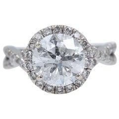 Diamond Engagement Ring Halo Design Rounds 2.95 Carat 14 Karat White Gold