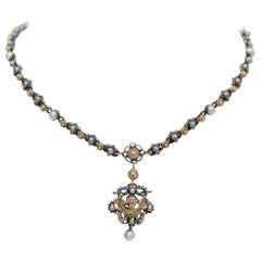 Jill Garber Gold, Silver and Pearl Angel Drop Necklace