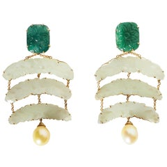 Emerald Jade Gold  Natural Pearls Earrings