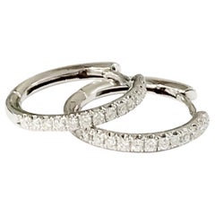 White Diamond 18 Karat Solid Gold Hoop Earrings