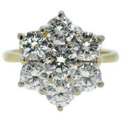 1.50 Carat Diamond Flower Cluster Ring, 18 Carat Gold, London, 1999