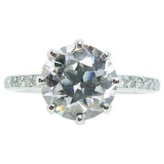 2.01 Carat Early Brilliant Cut Diamond, Platinum Solitaire Ring, circa 1940s