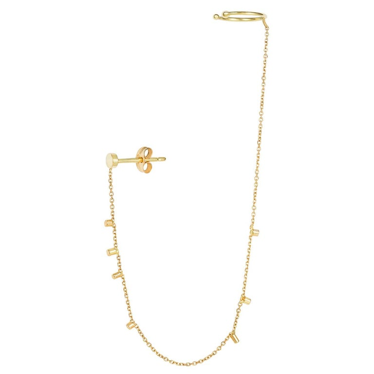 Sweet Pea 18k Yellow Gold Single Stud Earring With Gold Dust Chain And Ear Cuff For Sale