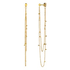 Sweet Pea 18k Yellow Gold Stud Earrings With Looped Gold Dust Chains