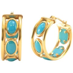 Solid 14K Yellow Gold Genuine Turquoise Huggie Earrings 2.2g Excellent condition