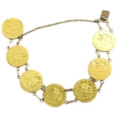 Solid 24 Karat Yellow Gold 2 1/2 Dollar Coin Bracelet 31.8g