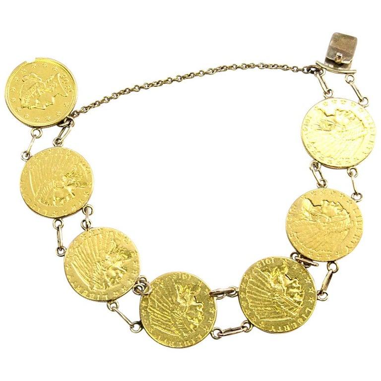 Solides 24 Karat Gelbgold 2 12 Dollar Münze Armband 318g Im