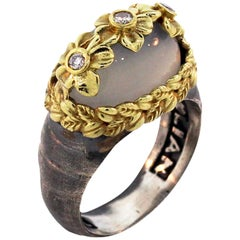 Stambolian Silver Gold and Diamond Floral Ring with Grey Moonstone Centre