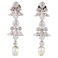 18K Briolette Diamond Drop Earrings