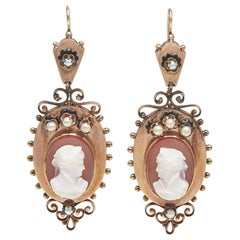 Antique Agate Cameo Earrings