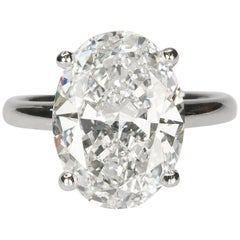 18 Karat Ring with GIA 8.03 Carat Oval Brilliant