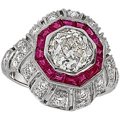 2.48 Carat Old European Cut Diamond and Ruby Ring 18 Karat White Gold