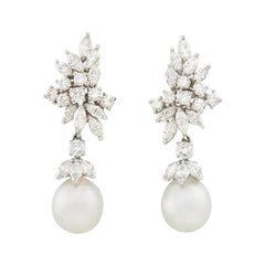 1950s Platinum 5.60 Carat VS Diamond South Sea Cultured Pearl Pendant Earrings