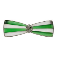 1930 Art Deco Bow Tie Crystal Agate Diamond Platinum Gold Brooch