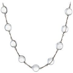 Antique Deco Pools of Light Rock Crystal Orb Necklace Long Sterling Silver