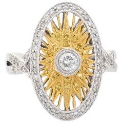 Estate Yellow Diamond Sunburst Ring 18 Karat Gold Oval Fine Statement Jewelry