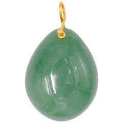 Hand Carved Large Green Aventurine of 140 Carat 22 Karat Gold Pendant