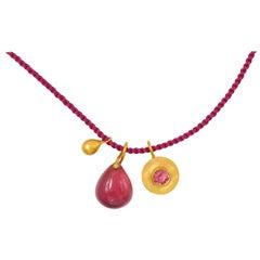 Christmas Gift Idea, Purple Tourmaline Drop Purple Spinel 22 Karat Gold Necklace