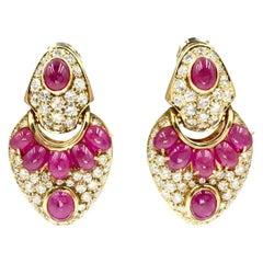 18 Karat Ruby and Diamond Drop Earrings