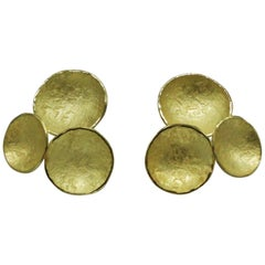 18 Karat Yellow Gold Disc Round 3 Elements Earrings, Kayo Saito