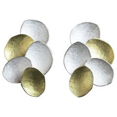 18 Karat Yellow Gold Sterling Silver Combination Petal Disc Stud Earrings