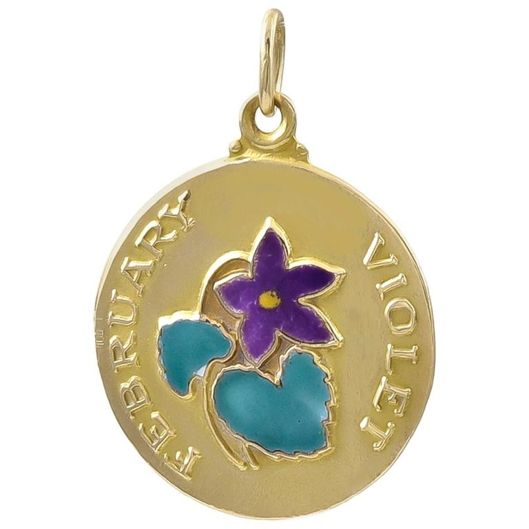 Gold and Enamel February Charm For Sale