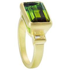 Faye Kim 5.10 Carat Emerald Cut Green Tourmaline and Diamond Ring in 18k Gold