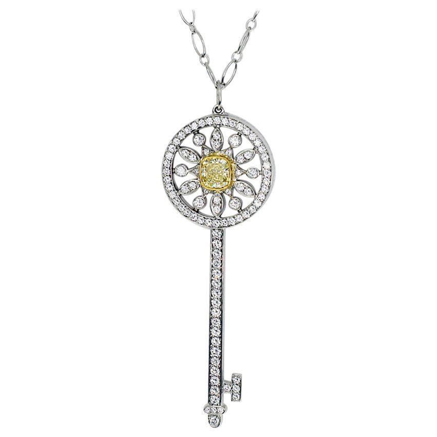 Tiffany & Co. Fancy Yellow Diamond 18 Karat Gold Star Key Pendant Necklace