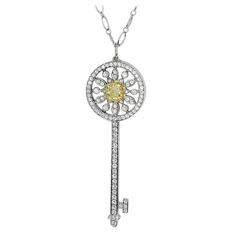 Tiffany And Co Fancy Yellow Diamond 18 Karat Gold Star Key Pendant Necklace For Sale At 1stdibs