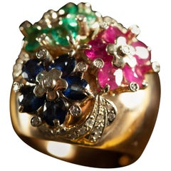 Natural Emeralds Ruby Sapphires Diamond Flowers Gold Cocktail Ring Italy, 1970s