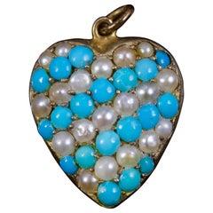 Antique Victorian Turquoise Pearl Heart Pendant, circa 1880