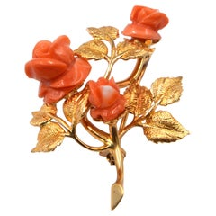 Yellow Gold Coral Brooch