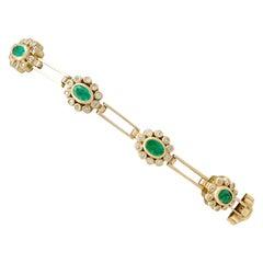2.85 Carat Emerald, 2.25 Carat Diamond and Yellow Gold Bracelet