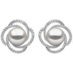 Yoko London Freshwater Pearl and Diamond Earrings, Set in 18 Karat White Gold