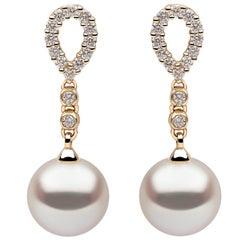 Yoko London Freshwater Pearl and Diamond Earrings, Set in 18 Karat Yellow Gold