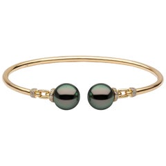 Yoko London Tahitian Pearl and Diamond Bangle, Set in 18 Karat Yellow Gold