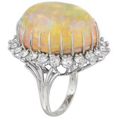 Estate Vintage Large 56 Carat Opal VS Diamond Statement Cocktail Ring