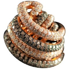 Rose 18 Karat Gold 1.70 Carat White 1.70 Carat Brown Diamond Band Ring, 2018