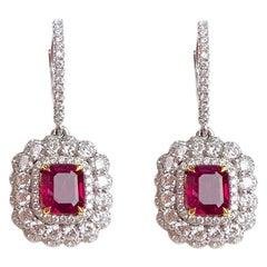 2.54 Carat Pigeon Blood Ruby and 2.00 Carat Diamond Drop Dangle Halo Earrings