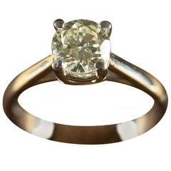 1.02 Carat Diamond M Color Solitaire Ring White 18 Karat Gold