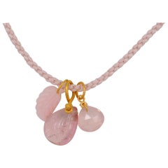 Christmas Gift Idea: Pink Tourmaline Rose Quartz Pink Opal 22 kt Gold Necklace