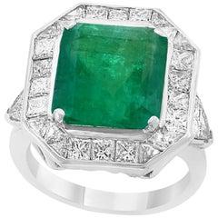 6 Carat Emerald Cut Colombian Emerald and Diamond 18 Karat Gold Ring Estate