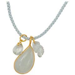 Christmas Gift Idea Aquamarine Green Amethyst 22 Karat Gold Necklace