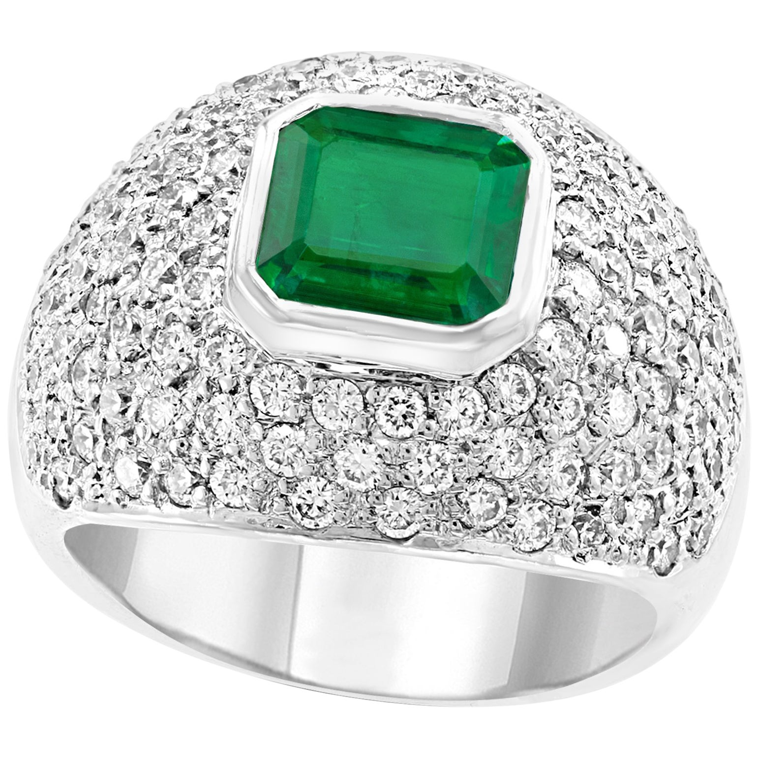3 Carat Emerald Cut Colombian Emerald and Diamond 18 Karat Gold Ring Estate