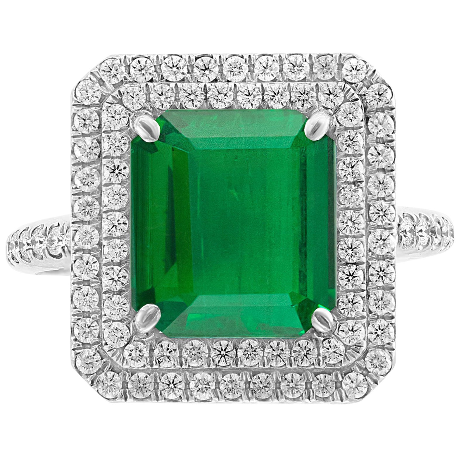 4 Carat Emerald Cut Colombian Emerald and Diamond Platinum Ring Estate