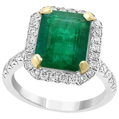 5.5 Carat Emerald Cut Colombian Emerald and Diamond 18 Karat Gold Ring Estate