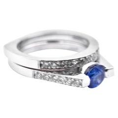 1.00 Carat Sapphire and Diamond 18 Karat White Gold Ring Set