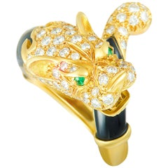 J. P. Bellin Diamonds, 2 Emeralds, and Onyx Yellow Gold Panther Ring