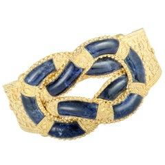 Ilias Lalaounis Lapis Ornate Yellow Gold Wide Bangle Bracelet