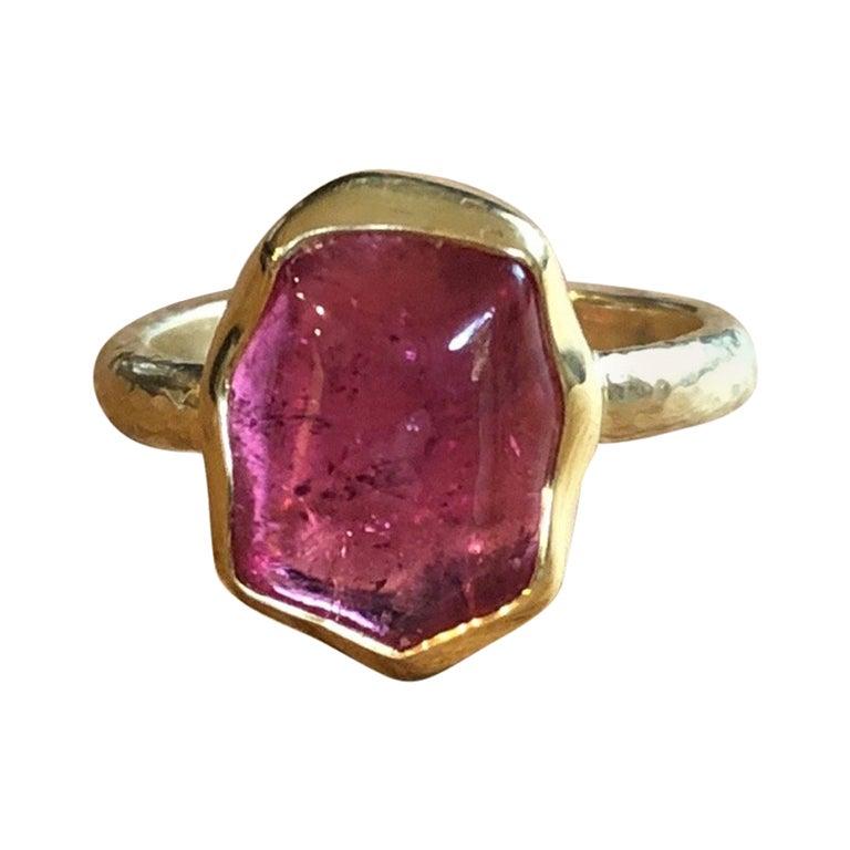 Rubellite 18 Karat Gold Engagement Ring